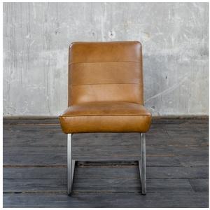 KAWOLA Esszimmerstuhl SALI Freischwinger Vintage-Leder braun