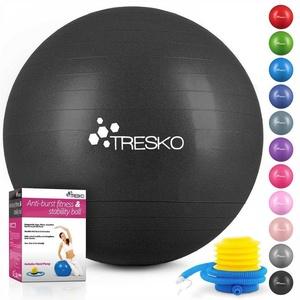 TRESKO Gymnastikball, Yogaball mit GRATIS Übungsposter inkl. Luftpumpe - Fitnessball BPA-Frei, Sitzball Büro, Sitzball Anti-Burst, 300 kg Belastbarkeit schwarz 75 cm