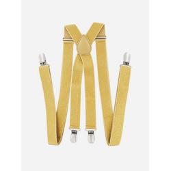 axy Hosenträger mit Glitzerfäden Herren Hosenträger mit Glitzerfäden 4 Stabile Clips X-Form 2,5cm Breit verstellbar und elastisch 120cm Lang goldfarben