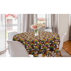 Abakuhaus Tischdecke Kreis Tischdecke Abdeckung für Esszimmer Küche Dekoration, Regenbogen Bunt Magic Sky