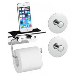 WENKO Toilettenpapierhalter mit Smartphone Ablage und 2 Turbo-Loc® Haken, 3-teiliges Set