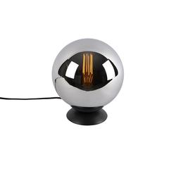 Art Deco Tischlampe schwarz mit Rauchglas - Pallon
