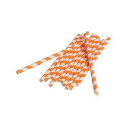 Horror-Shop Einweggeschirr-Set Orange-weiße Party Strohhalme aus Papier 12 Stück, Papier