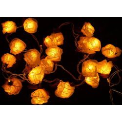 Guru-Shop LED-Lichterkette Blüten LED Lichterkette 20 Stk. Rose - weiß