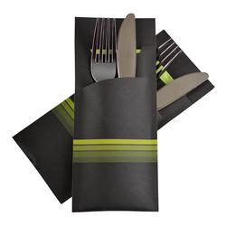 Pochetto Bestecktaschen 200x85mm schwarz limette Streifen Serviette 520 Stk.