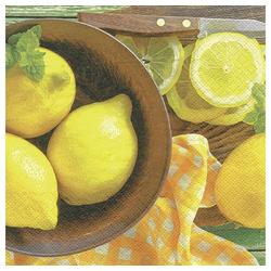 Linoows Papierserviette 20 Servietten, Frische Zitronen und Minze arrangie, Motiv Frische Zitronen und Minze arrangierte Szene