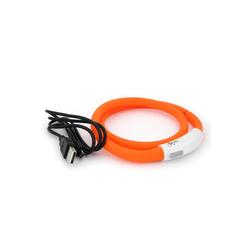 PRECORN Hunde-Halsband LED USB Halsband Hund Silikon Hundehalsband Leuchthalsband für Hunde aufladbar per USB (Größe S-L auf 18-65 cm individuell kürzbar), Silikon orange