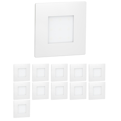 LED Treppen-Licht FEX Treppenbeleuchtung, weiß, eckig, 8,5x8,5cm, 230V, rot, 12 Stk.