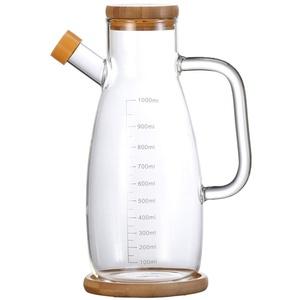 YOUCHOU Ölspender, Olivenöl und Essigspender, bleifreie Essigflasche mit Bambusdeckel, Ölbehälter für Gemüse, Olivenöl, Küche Kochbehälter