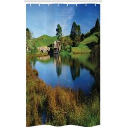 Abakuhaus Duschvorhang Badezimmer Deko Set aus Stoff mit Haken Breite 120 cm, Höhe 180 cm, Hobbits Hobbit Land Dorfhaus