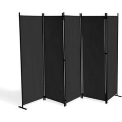 Grasekamp Paravent 5 teilig Schwarz 268 x 167 cm  Raumteiler Trennwand Sichtschutz