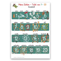 Meine Zahlen-Tafel von 1-20 Lernposter DIN A3 laminiert
