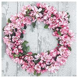 Linoows Papierserviette 20 Servietten, Romantischer Blumenkranz aus Apfelb, Motiv Romantischer Blumenkranz aus Apfelblüten