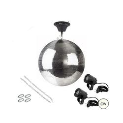 SATISFIRE Discolicht Spiegelkugel Komplettset 50cm mit Motor, 2 x LED Pinspot (kaltweiss)