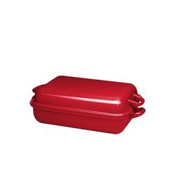 Riess Bratpfanne Bratpfanne mit Deckel Emaille Color-Rot, Emaille (2-tlg) 37 cm x 43.5 cm x 13 cm