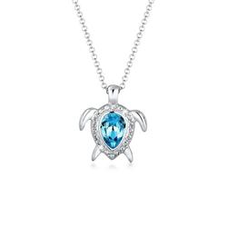 Elli Collierkettchen Schildkröte Meer Kristalle 925 Silber