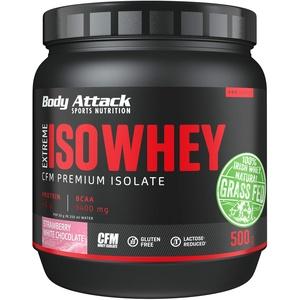 Body Attack Extreme Iso Whey, CFM Whey Protein Isolat aus 100% irischer Weidemilch, glutenfrei, reich an EAAs, perfekt löslich, fettarm, ohne Aspartam, 90,6 % Isolat-Anteil (Strawberry White Chocolate, 500g)