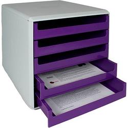 M&M Schubladenbox   violett DIN A4 mit 5 Schubladen