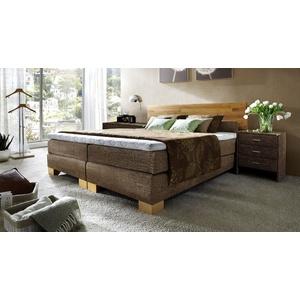 Boxspringbett aus Holz Salvatore - 140x200 cm - braun - Härtegrad H2