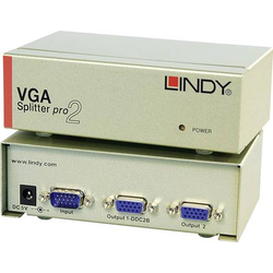 LINDY VGA Splitter Pro 1:2 2 Port VGA-Splitter 2048 x 1536 Pixel Silber