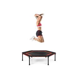 COSTWAY Fitnesstrampolin Mini Trampoli Gartentrampolin, φ 126 cm, Indoor- und Outdoortrampolin