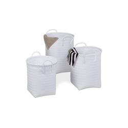 relaxdays Wäschekorb Wäschekorb geflochten 3er Set weiß