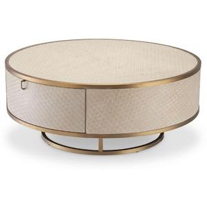 Casa Padrino Luxus Couchtisch Beige / Messingfarben Ø 100 x H. 40,5 cm - Runder Wohnzimmertisch mit 2 Schubladen - Luxus Wohnzimmer Möbel