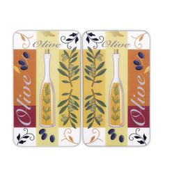 WENKO Universal Herdabdeckplatte, 30 x 52 cm, Herdabdeckung für Glaskeramik-, Elektro- und Gasherde, Muster: Oliven, 2 Platten