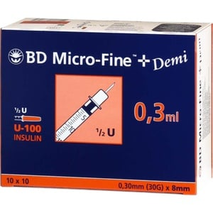 BD MICRO-FINE+ Insulinspr.0,3 ml U100 0,3x8 mm 100 St