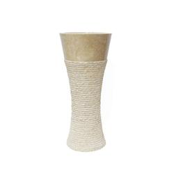 Oriental Galerie Waschbecken Säulenwaschbecken Standwaschbecken Marmor Creme (2-St), Handarbeit