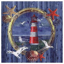 Linoows Papierserviette 20 Servietten Maritim, Bullauge Fenster mit Marine, Motiv Maritim, Bullauge Fenster mit Marine Motiven