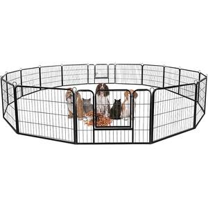 Froadp 16tlg Welpenauslauf Laufgitter Kaminschutzgitter Freilaufgehege Welpenzaun Gehege Kinder Sicherung Laufstall Zaun Gitter mit Tür für Kleintiere Nager Hunde(80x60cm)