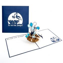 Colognecards Pop-Up Karte Klapperstorch blau