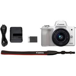 Canon EOS-M50 EF-M15-45 Kit Systemkamera (EF-M 15-45, 24,1 MP, NFC, WLAN (Wi-Fi), Bluetooth, + Rucksack CB-BP100 + 32GB SD Class 10 + 10 € FGS) weiß