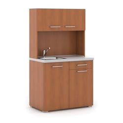 Büroküche primo mit spülbecken und mischbatterie, kirsche