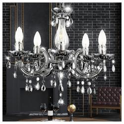 etc-shop Kronleuchter, Hänge Lampe Wohn Zimmer Kronleuchter Beleuchtung Chrom Kristall Luster im Set inkl. LED Leuchtmittel