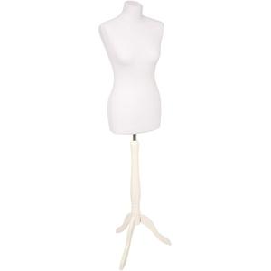fella4stores Basic Damen-Schneiderpuppe weiß mit Holz-Dreibein weiß 40/42 (L)