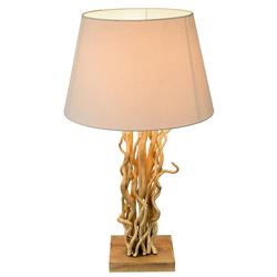 Tisch Lampe Wohn Ess Zimmer Lese Beistell Natur Holz Leuchte Textil Schirm beige Globo 25630