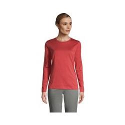 Supima-Shirt, Langarm, Damen, Größe: 48-50 Normal, Rot, Baumwolle, by Lands' End, Nautisch Rot - 48-50 - Nautisch Rot