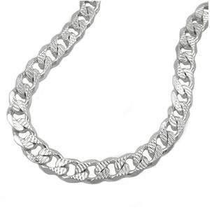 unbespielt Silberkette Halskette Panzerkette flach mit Muster 925 Silber 50 cm x 5,6 mm inklusive kleiner Schmuckbox, Silberschmuck für Damen und Herren