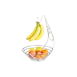 relaxdays Obstschale Obstschale mit Bananenhalter, Metall