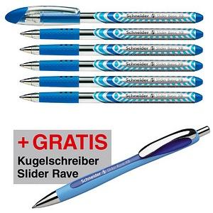 AKTION: 6 Schneider Kugelschreiber Slider Basic blau Schreibfarbe blau + GRATIS Slider Kugelschreiber Rave, blau