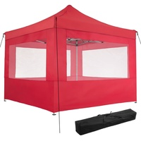Tectake Faltpavillon 3 x 3 m inkl. 4 Seitenteile rot