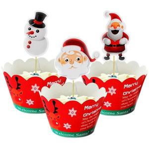 Yisscen Weihnachten Cupcake Topper Wrapper Set 48 Stücke Muffins Dessert Dekoration Verpackung Topper Santa,Schneemann für Kinder Party Dekorationen