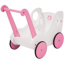 LeNoSa Puppenwagen Holz Lauflernwagen - Puppenwagen weiß/rosa