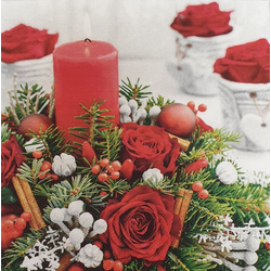 Linoows Papierserviette 20 Servietten Weihnachten, Rosen, Kerze und Tannen, Motiv Weihnachten, Rosen, Kerze und Tannenkranz