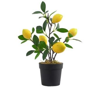 SUREH Künstlicher Zitronenbaum, Mini-Topf-Zitronenbaum, Zitronenbaum, künstliche Pflanze für Zuhause, Wohnzimmer, Esszimmer, Badezimmer, Büro, Tischdekoration (grün)