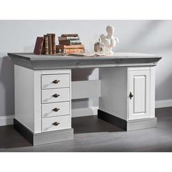 Computertisch in Weiß Grau Kiefer teilmassiv