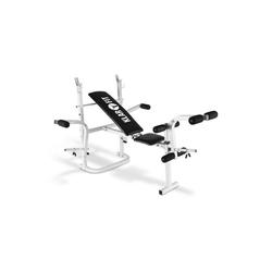 KLARFIT Hantelbank Workout Hero Hantelbank mit Ablage 2x Armcurler 1x Beincurler 160kg weiß