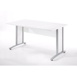 ebuy24 Schreibtisch Prisme Schreibtisch B Weiss und silbergrauer Stahl
